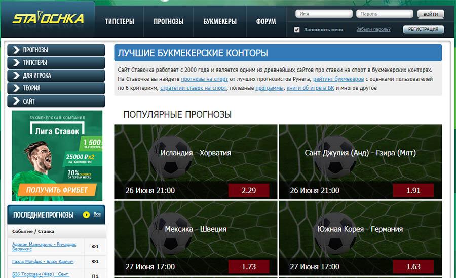 Внешний вид сайта stavochka.com