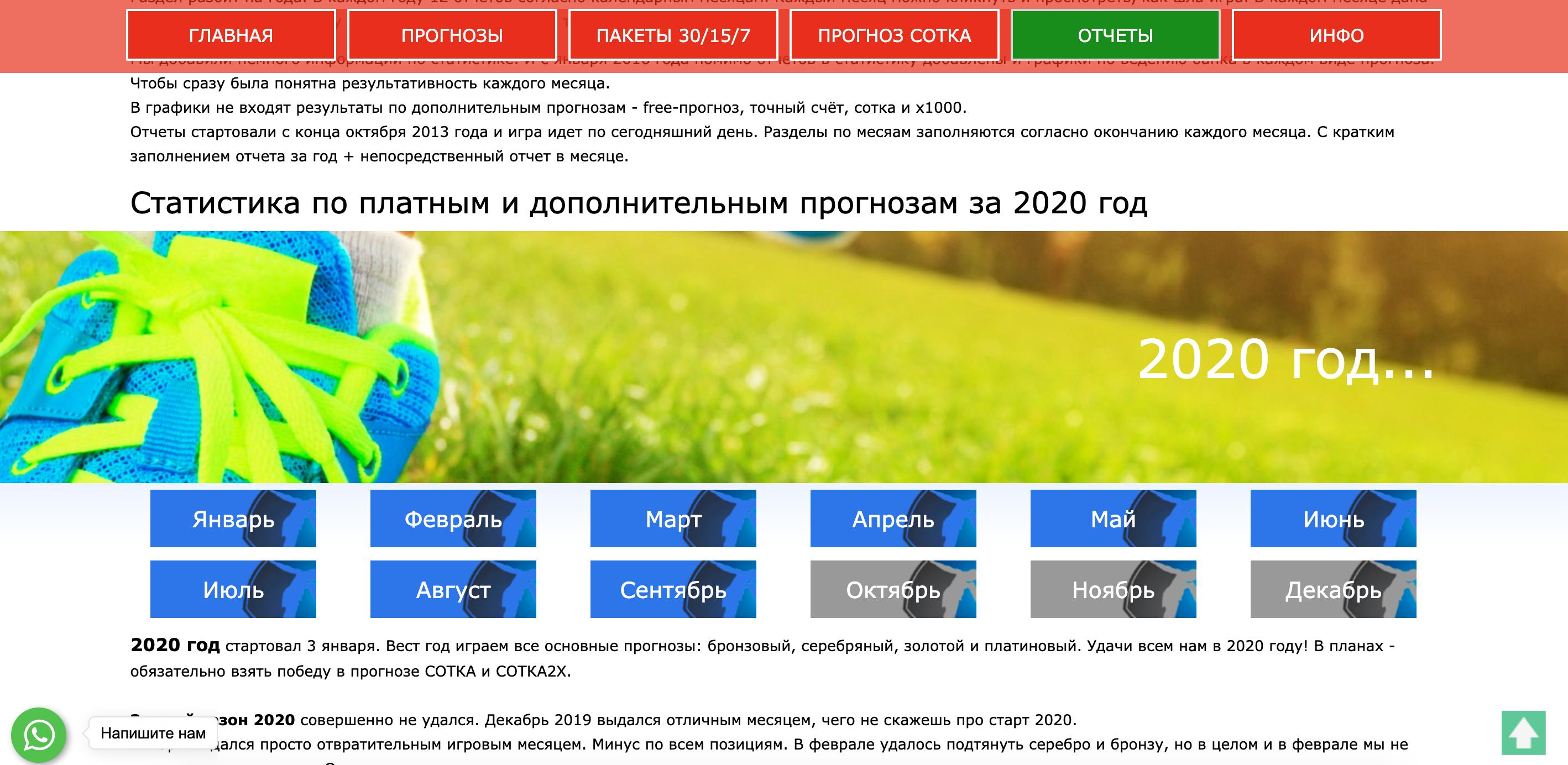 Статистика матчей на сайте stavka-prognoz.ru