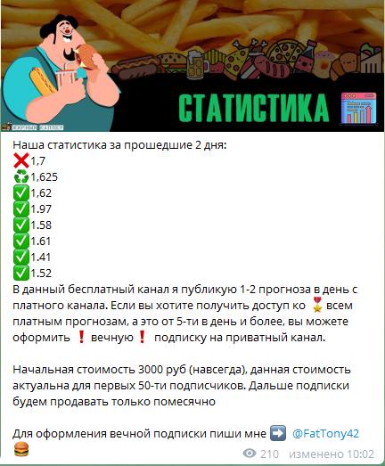 Статистика матчей в канале Жирный Каппер