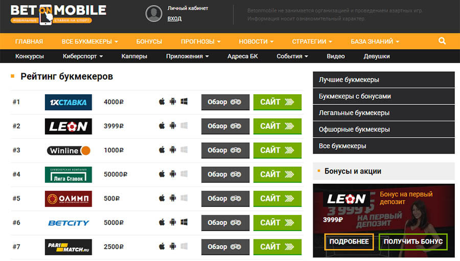 Сайт с прогнозами https betonmobile ru (бет мобайл)