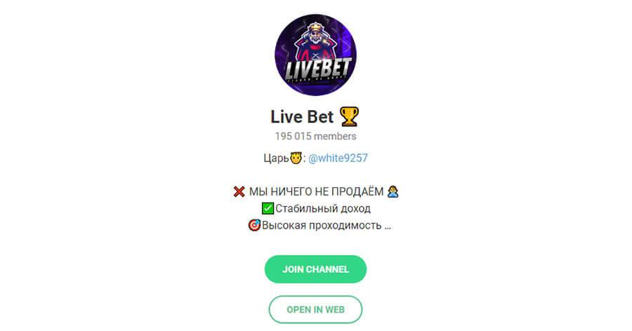 Телеграм канал Livebet