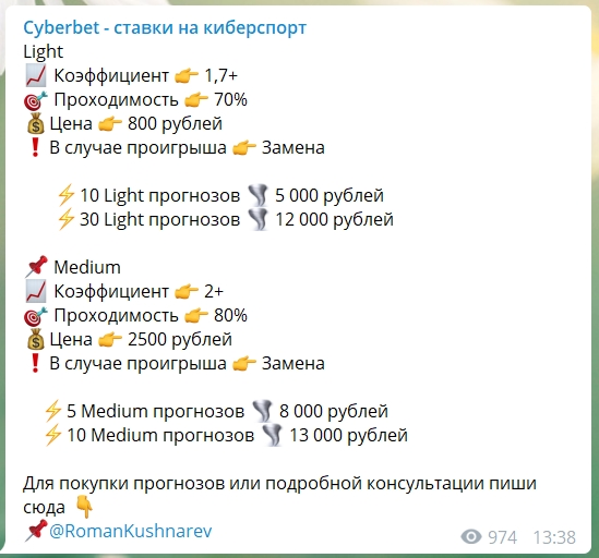Цена подписки на ресурсе CyberBet