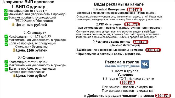 Цены за прогнозы от Олега Соловьева
