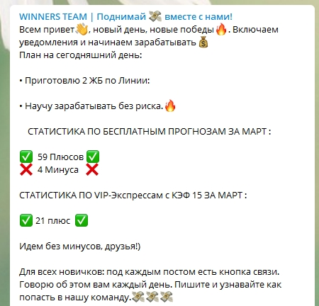 Статистика прогнозов на спорт от Winners Team