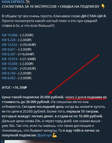 Телеграм канал Ivan Express - цена подписки