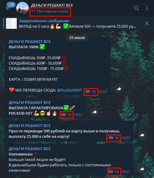 Деньги Решают Все в Telegram - просмотры публикаций