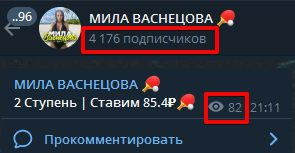 Каппер Мила Васнецова - подписчики и просмотры в Телеграмм